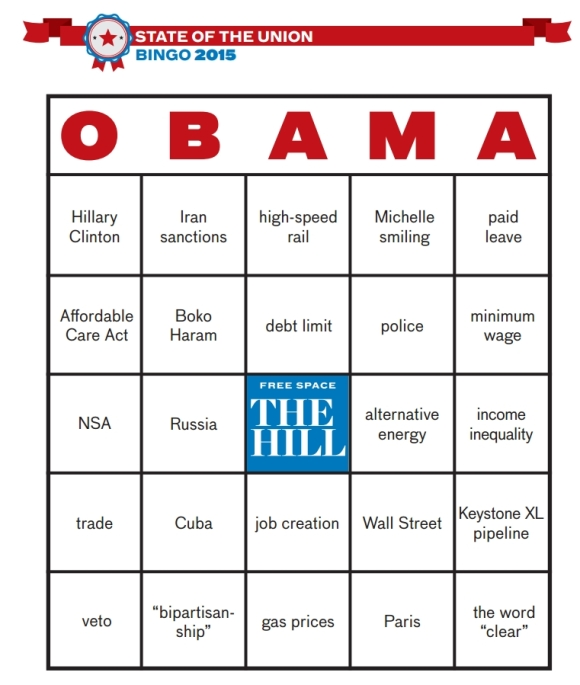 "2015 SOTU Bingo från ""The Hill"""